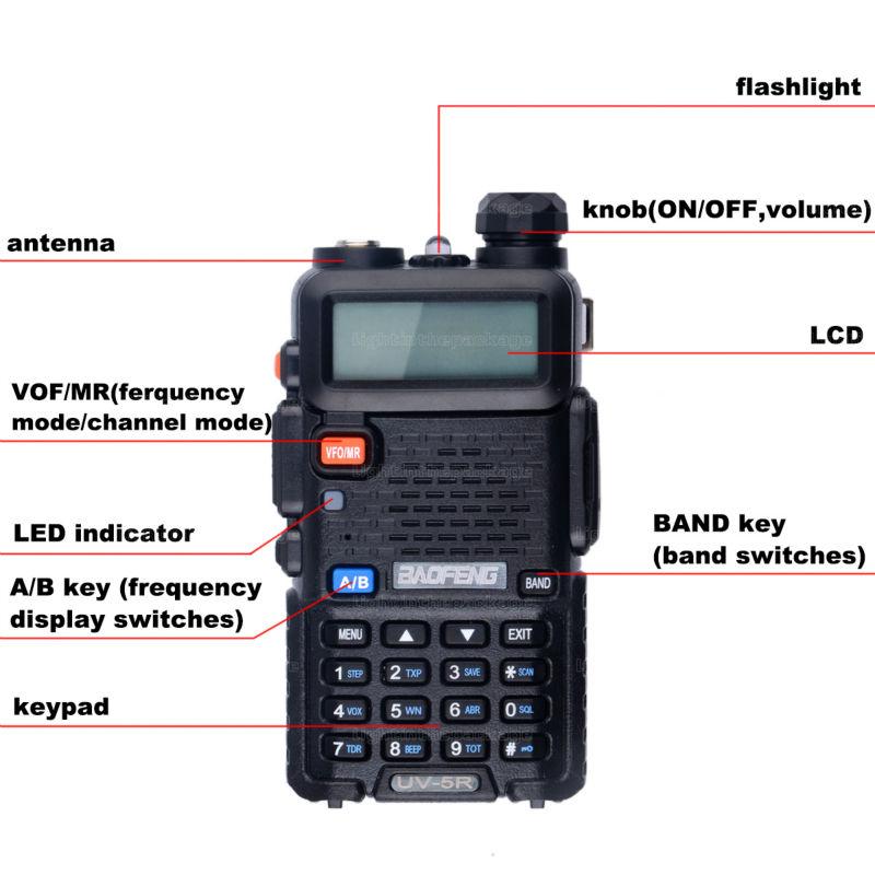 BaoFeng UV-5R Walkie Talkie Black CB Two Way Radios VHFUHF 136-174 400-520MHz Dual Band Amateur Handheld UV 5r Portable Radio (14)