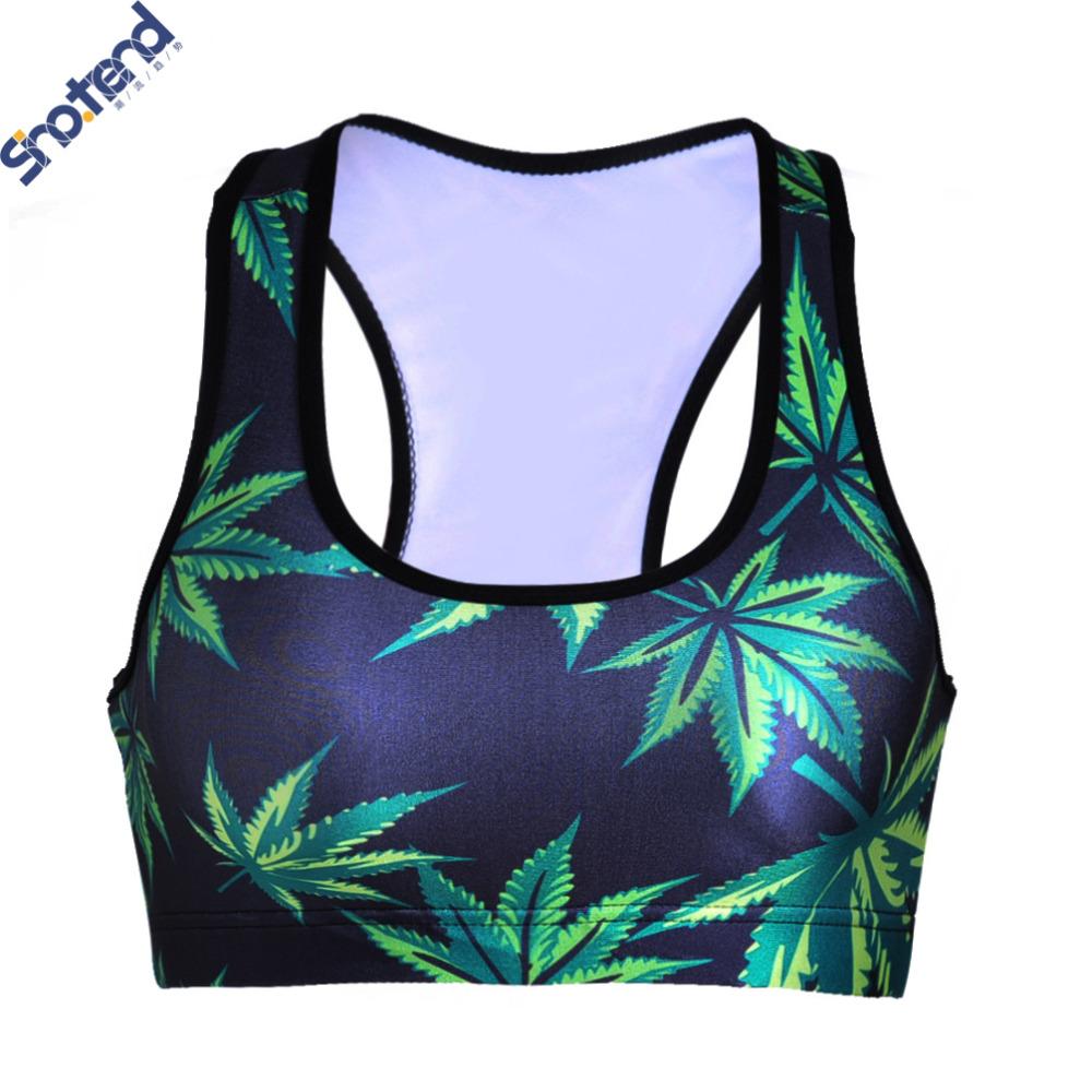 S.T 3D Bamboo Leafs Printed Sport Bra Lady Absorb Push Up Bras Women Corp Tops Vest Running Wireless Running Underwear(China (Mainland))