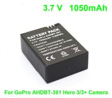 3.7 В 1050 мАч резервного литий-ионный аккумулятор для GoPro AHDBT-301 героя 3/3 + спорт действий камеры