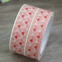 2016 New 1x Red Colored Love Heart Symbol Tartan Japanese Washi Masking Tape Pegtinas Scrapbooking Decor Tape Adhesive Tape 10M