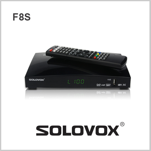10PCS free shipping Original SOLOVOX F8S 1080p Full HD Satellite Receiver DVB Support 2 USB Youpron CCCAM/MGCAM/NEWCAM Web TV(China (Mainland))