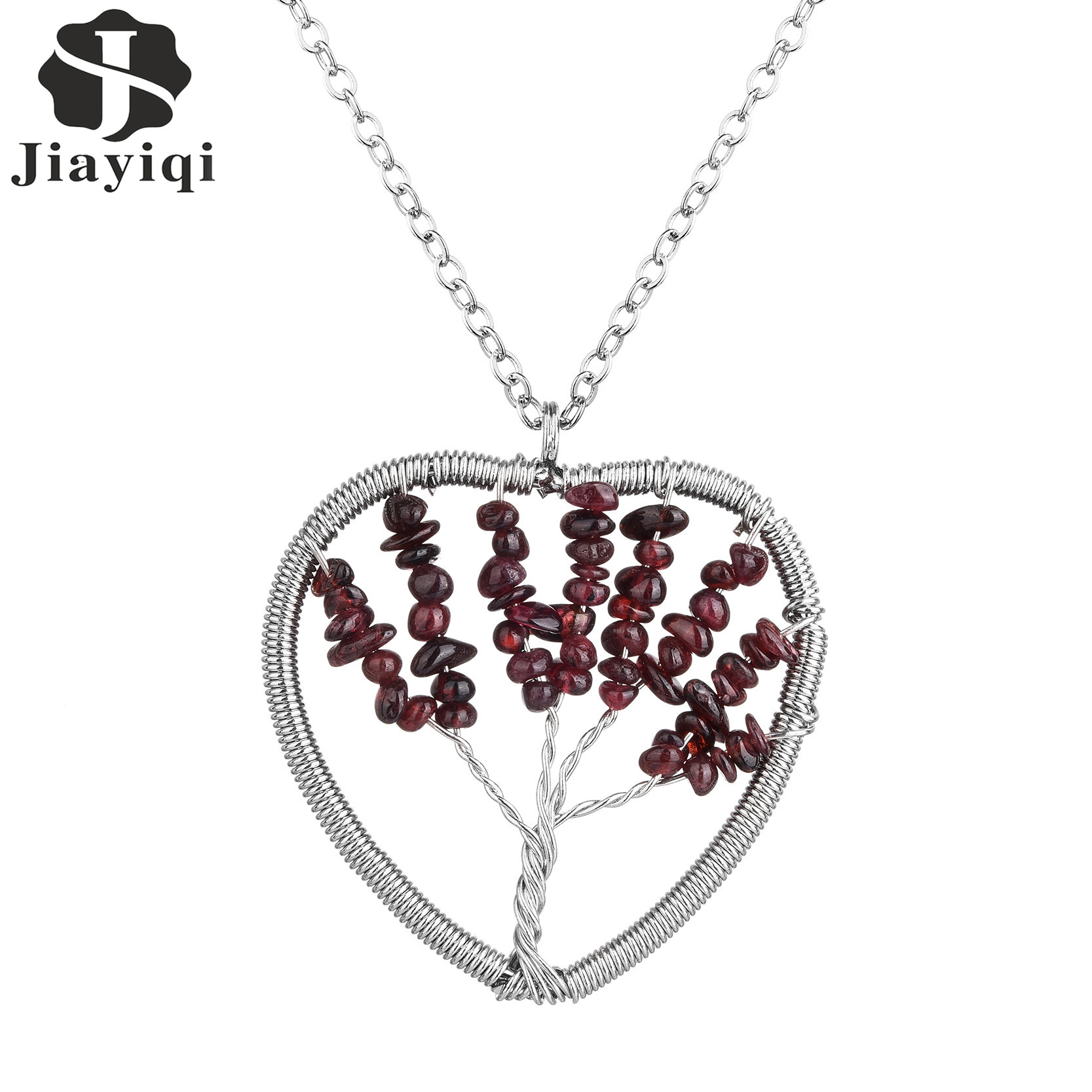 Heart Wisdom Tree Necklaces Natural Stone Pendant Necklace Tree Of Life Stainless Steel Chains Pendant Necklace(China (Mainland))
