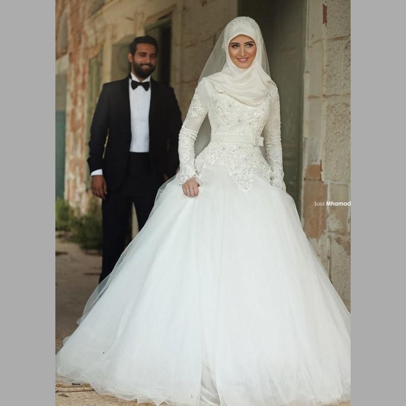 Hijab robes de mariée 2016 haute qualité une ligne dentelle ...