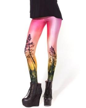 New Arrival ! Women 2013 Designed digital Printed supernova sale Aurora Skye Orange Leggings drop shipping