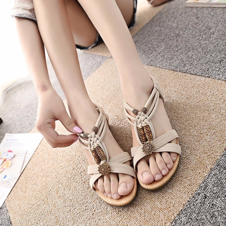 2016 Summer Vintage Women Sandals Gladiator Wedge Woman Shoes Beach Flip Flops Bohemia