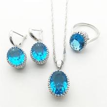 Hotting Sea-Blue Sapphire Tanzanite Rhinestone 925 Silver Jewelry Items For Women Necklace Pendant Earrings Rings Free transport
