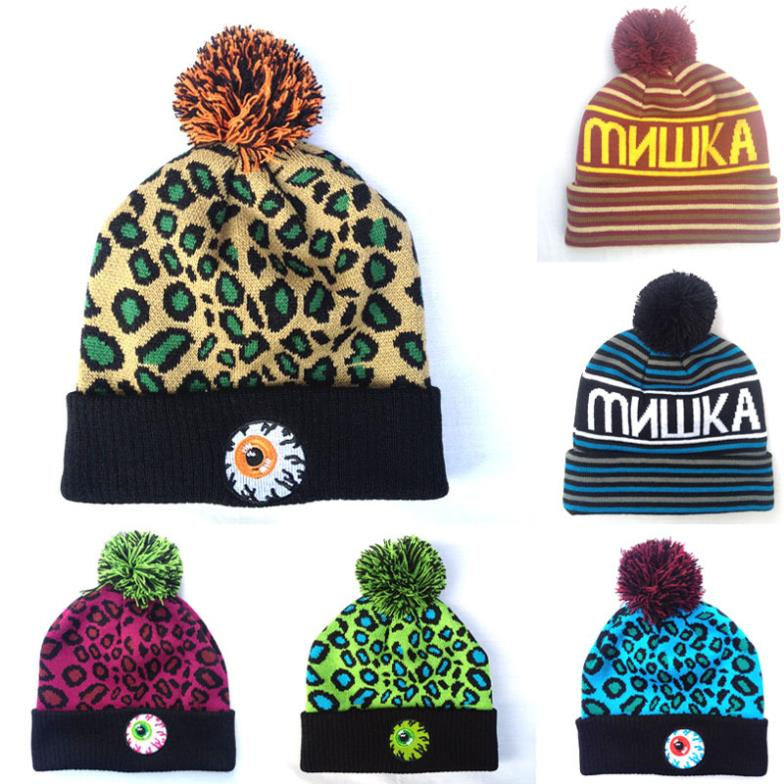 eyeball skullies Beanies Hats Leopard Hip-Hop wool winter Cotton knitted warm caps Snapback hat for man and women 1pcs(China (Mainland))