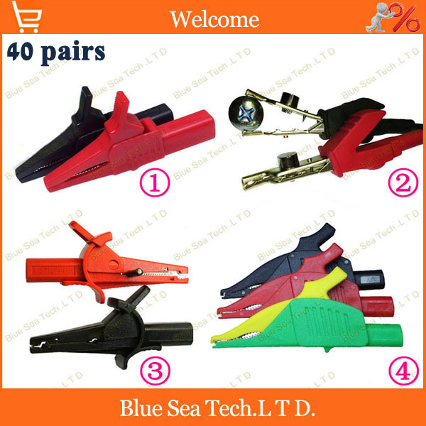 4 models 40 pairs Red and Black Alligator Clip,test Clip with 4mm socket for electromobile/Car,circuits test clip,high quality<br><br>Aliexpress