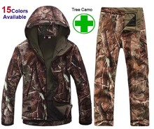 TAD Gear Tactical Soft Shell Camouflage Outdoor Jacket Set Men Army Sport Waterproof Hunting Set Military Jacket + Pant S1(China (Mainland))