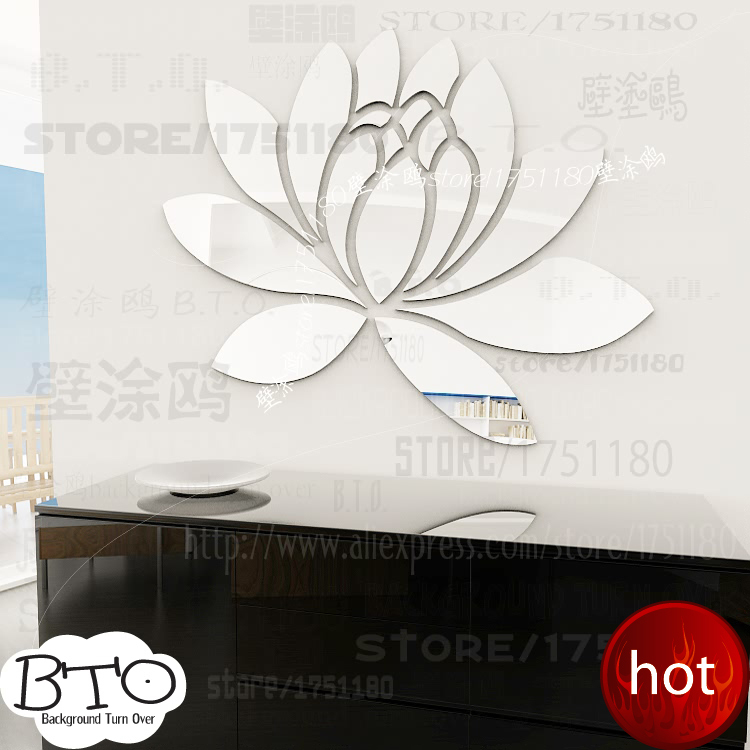 Various color elegant lotus flower acrylic mirror wall stickers for girls bedroom decor living room R063(China (Mainland))