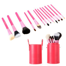 Professional Eyebrow Lipsticks Cosmetic Makeup Brushes Kit Tools 13Pcs Beauty Makeup Brush Set with Cup Holder Case 5 Colors(China (Mainland))