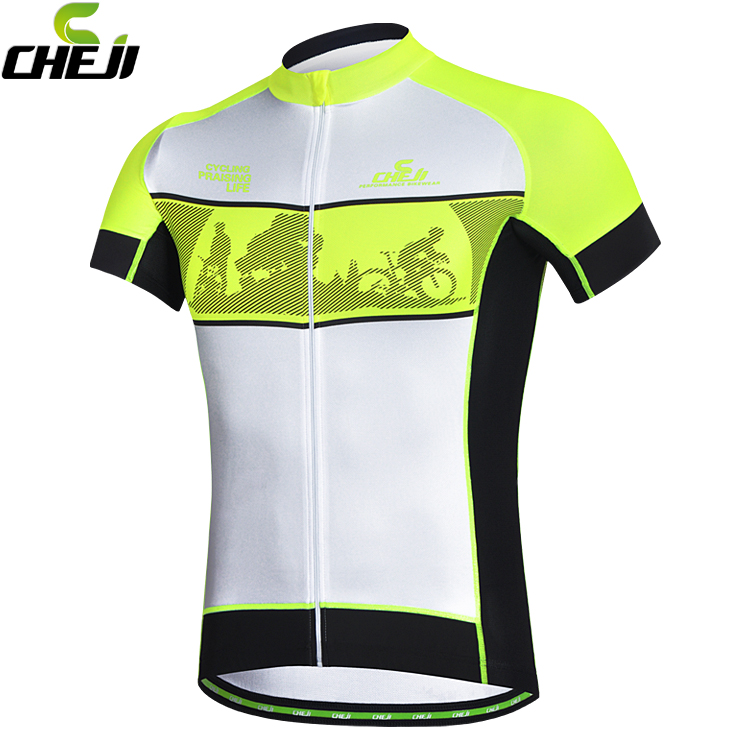 Authentic cheji Fluorescence green cycling jersey fort men summer bike shirts bicicleta maillot ropa ciclismo hombre(China (Mainland))