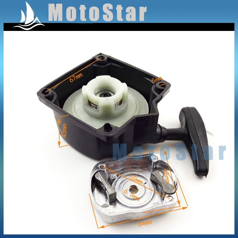 Recoil Pull Start Starter With Claw Pawl For Motovox Gas Scooter MVS10 43cc 49cc 2 Stroke Engine Part Black(China (Mainland))