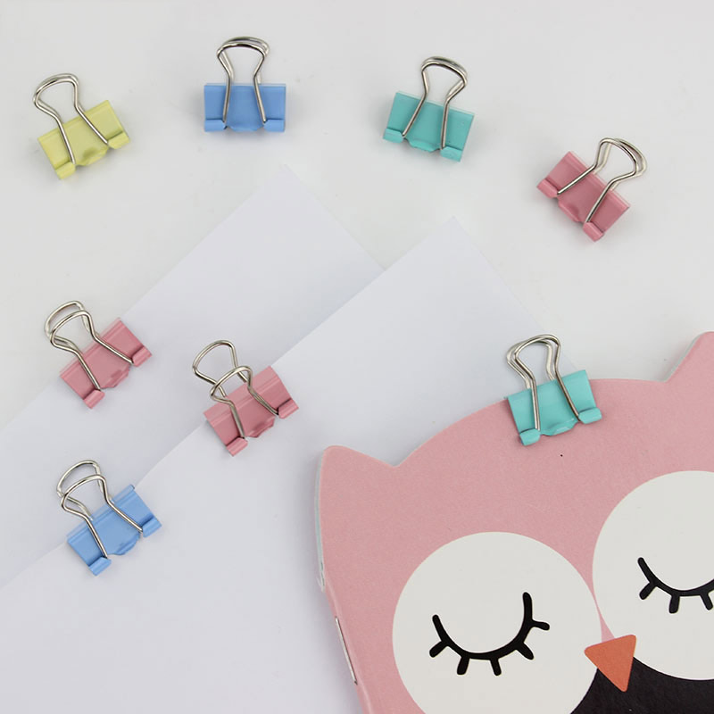 15mm Fresh Style Color Metal Binder Clips Notes Letter Paper Books File School Office Stationery Supplies 15pcs(China (Mainland))