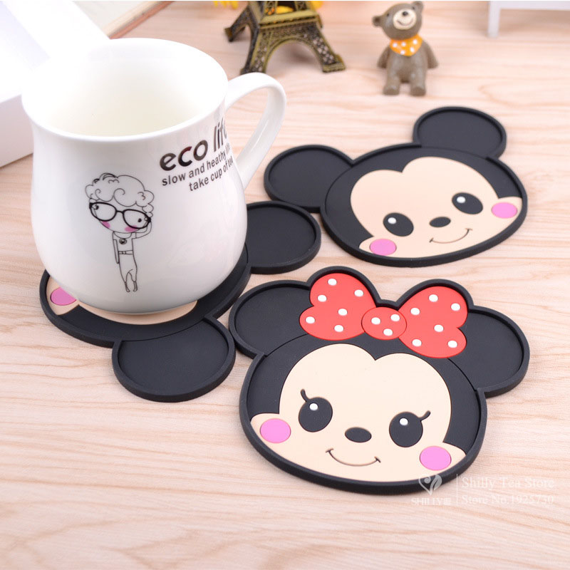 Mickey Mouse silicone dining table placemats coaster coffee drinks kitchen accessories cup bar mug placemats coaster mats pads(China (Mainland))