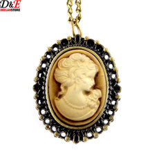 Women Love Sweet Heart Vintage Retro Chain Pocket Watch Golden Beauty head Pendant Necklace Women Lady Girl Gift P516