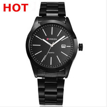 new 2014 brand watch Classic Simple Curren Black Stainless Steel Luxury Date Clock Mens Wrist Watch Free shipping