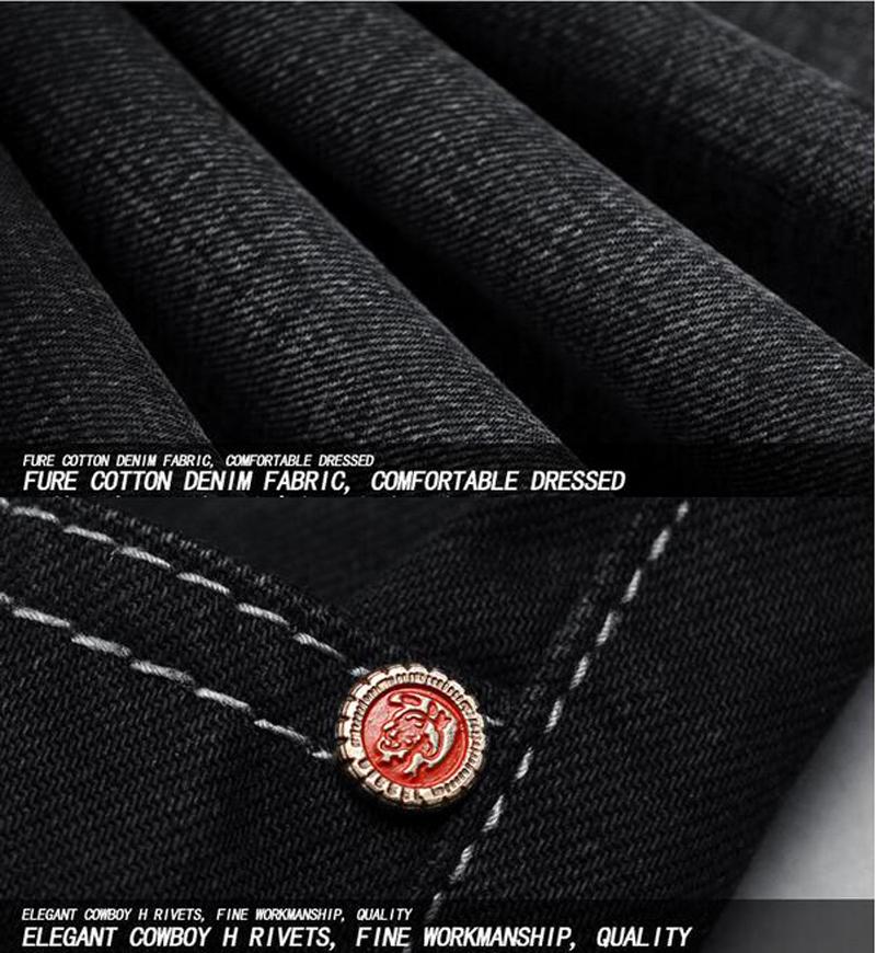 Скидки на Лучшие Продажи Черный Модные Мужские Джинсы Марка Одежды Случайные Прямые Полная Длина Брюки Легкие Тощий Джинсы Мужчин Джинсовые Брюки