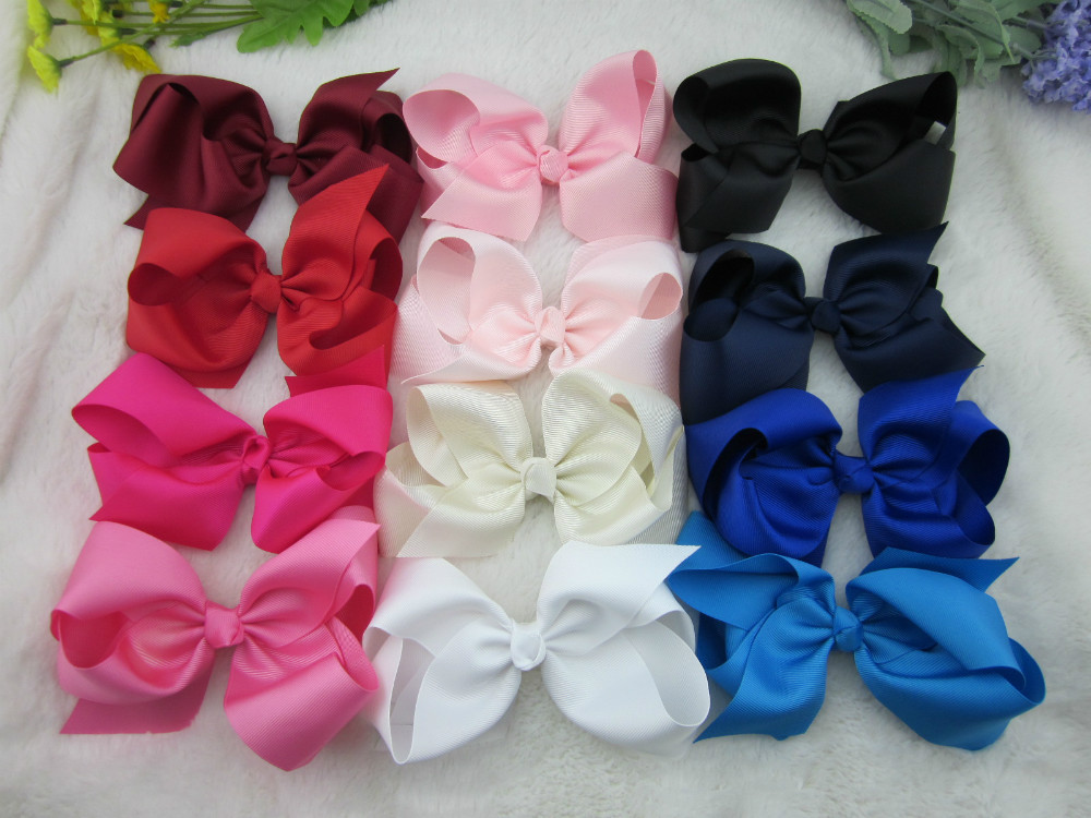 25pcs/lot,6 inch big ribbon bows,Girls' hair accessories hair bow withclip, hot selling bows for girl 25colors. free shipping(China (Mainland))