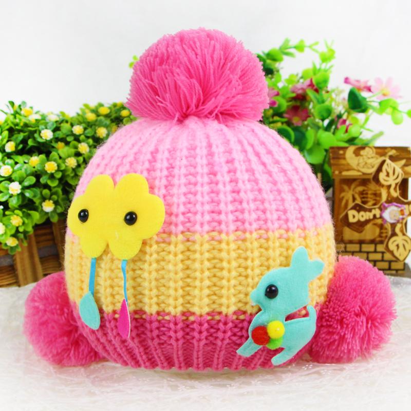 newborn knitted baby hats 0-3 years with sunflower dear knit ball dear baby brand crochet hats newborn knitted crochet beanie(China (Mainland))