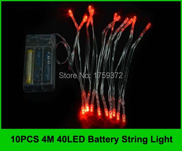 10PCS 4M 40 LED Battery Operated String Lights Outdoor Garden Xmas Wedding  RGB Warm White Red Lamp Light