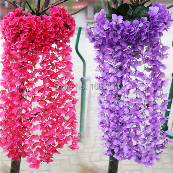 Wisteria Flower Rattan Bunch Artificial Hydrangea Flower Vines Silk Garlands for decorative Flowers 10 Colors Available(China (Mainland))