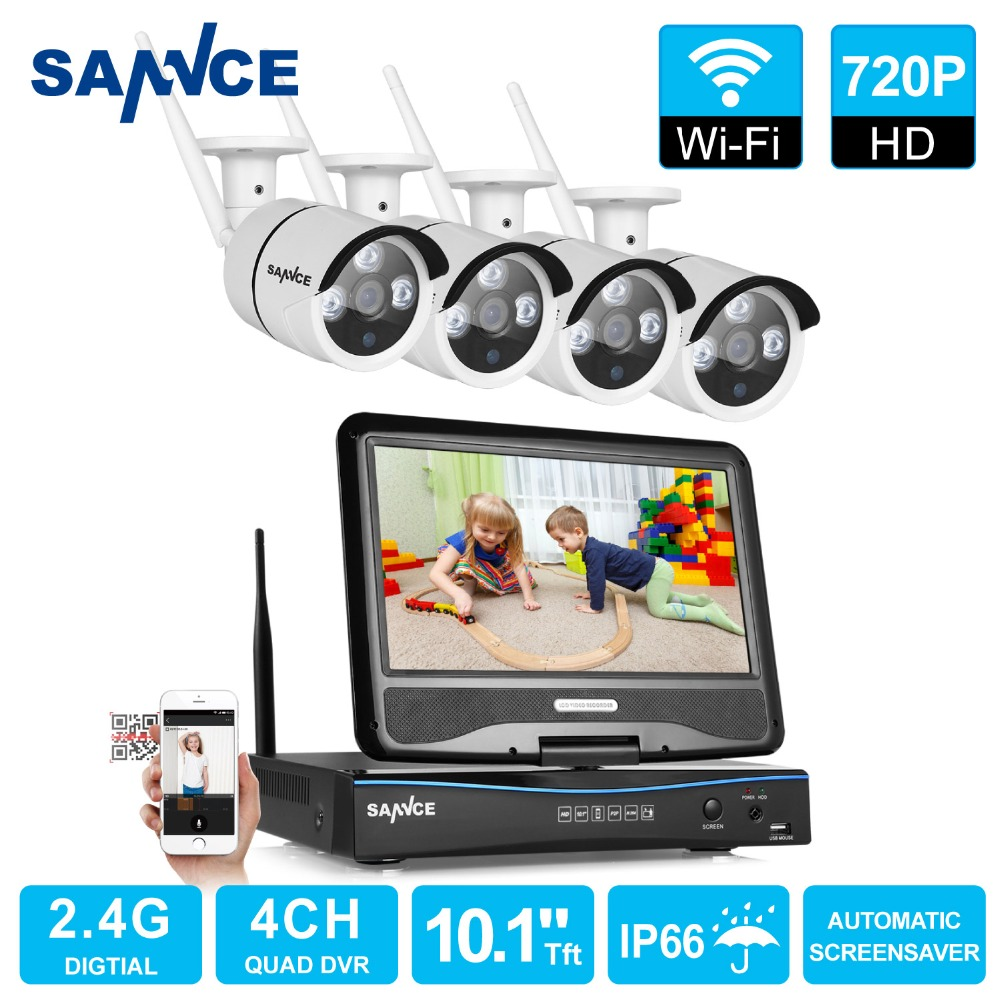 SANNCE HD 720P WIFI Video Security System with 10'1 LCD Screen 4pcs 720P 1.0MP Wireless IP Camera CCTV Surveillance kit(China (Mainland))
