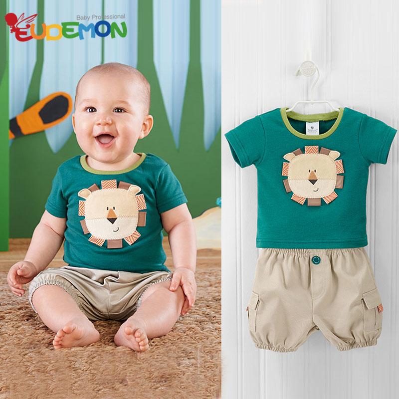 [Eudemon] Kids clothes Fashion Cotton boys clothes Summer children clothing Cute Animals lion boys summer sets Toddler kids set(China (Mainland))