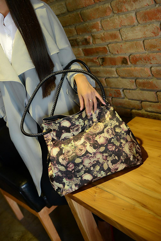 icocopark fashion print 2015 fashion vintage black rose big bags portable womens one shoulder handbag<br><br>Aliexpress