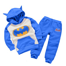 new Fashion 2016 Children Outfits Tracksuit Batman Clothing Children Hoodies + Kids Pants Sport Suit Boys girls Clothing Set(China (Mainland))