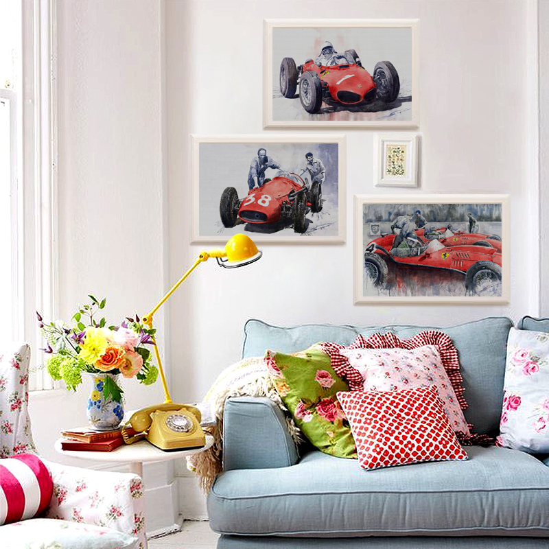 3PCS Home Decor Fast Amazing Red Race Car Wall Painting Modern Cool racing driver canvas painting competition scenery wall art(China (Mainland))