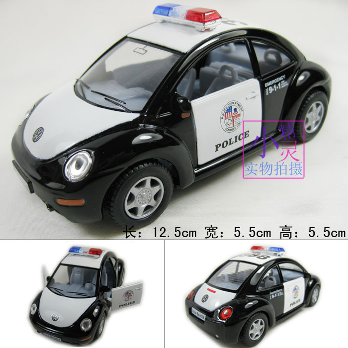 Volkswagen new beetle police car model 911 police car alloy car toy soft world(China (Mainland))