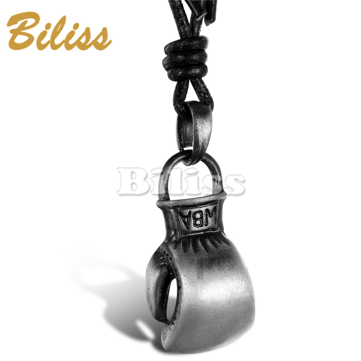 Hotsale High Quality Rock Punk Boxing Pendant Vintage Men Leather Necklace 2015 Long Chain Adjustable colar de couro(China (Mainland))