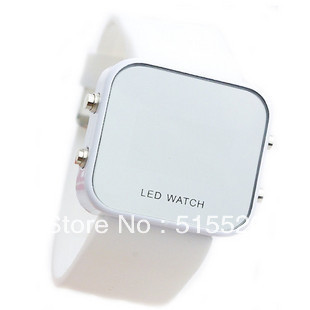 2015 Hot Flash LED Watch 100pcs Free Shipping Digital LED Watch Mirror Surface Silicone for Lady &Men(China (Mainland))