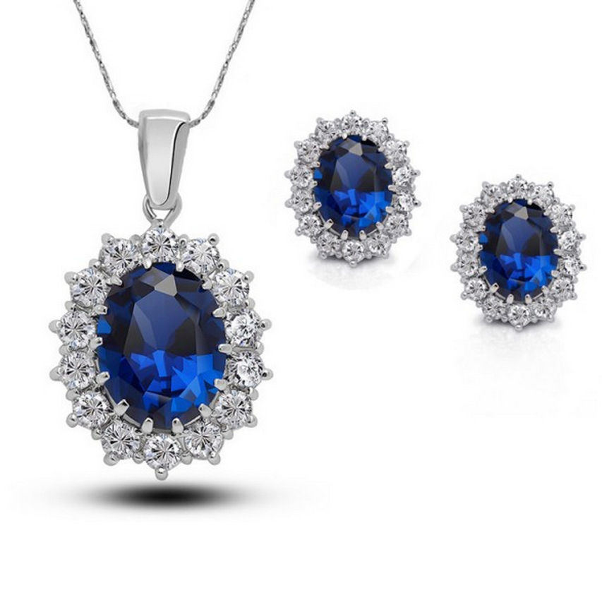 Lunxry Blue Crystal Rhinestone Jewelry Sets 925 Sliver Necklace Earrings Women Wedding  -  QiXuan Fashion Clothing store