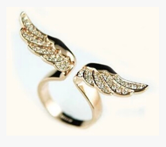 High quality Jewelry Alloy 18K Gold Plated Romantic Full of Crystal Angel Wings Ladies Ring Woman Luxurious Rings 100pcs(China (Mainland))