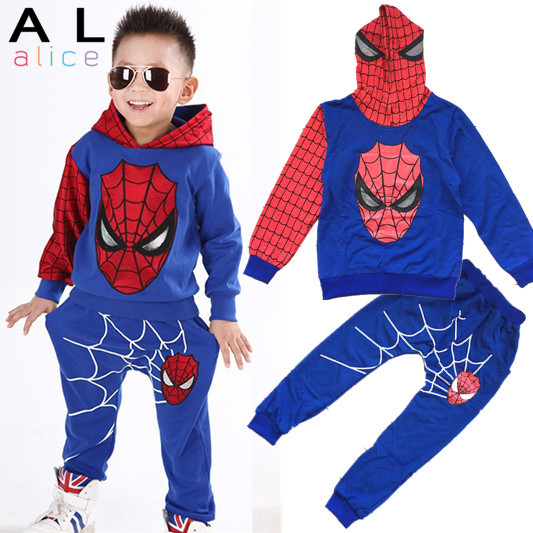 Baby Boys Spring Autumn Spiderman Sports suit 2 pieces set Tracksuits Kids Clothing sets 100-140cm Casual clothes Coat+Pant(China (Mainland))