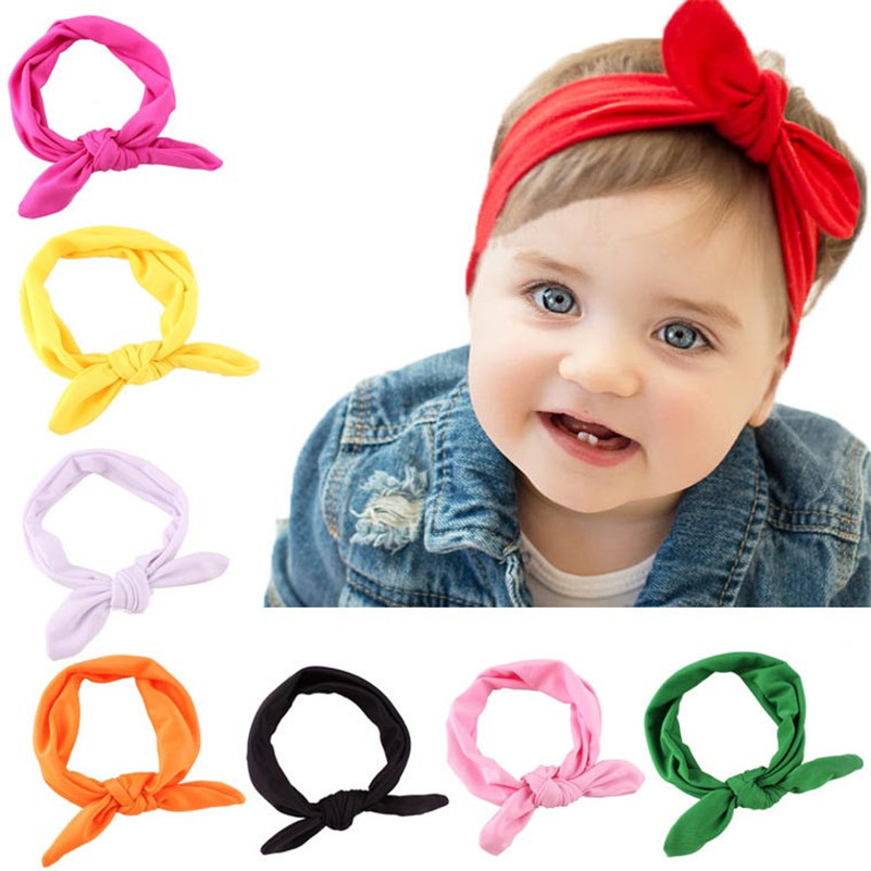 Stylish 1Pcs Infant Kids 8Colors Elastic Rabbit Bow Ear Hairband Turban Knot Head Wraps For baby girls Headband accessories DP5(China (Mainland))