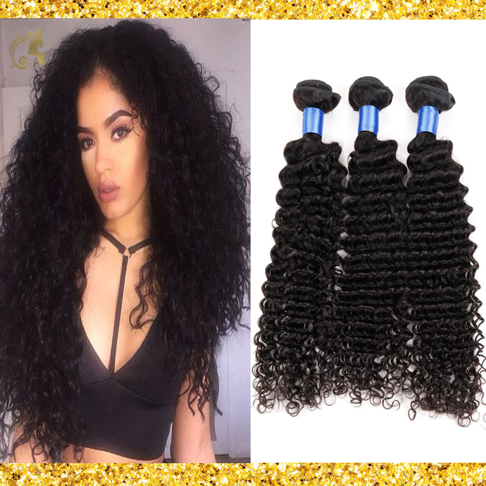 7A Brazilian Virgin Hair 4 Bundles Brazilian Deep Wave Unprocessed Brazilian Deep Wave Virgin Hair 100% Human Hair Weave Bundles