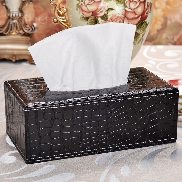 Free shipping durable crocodile striae grade leather napkin tissue pumping cassette tray pumping car, home applicable(China (Mainland))