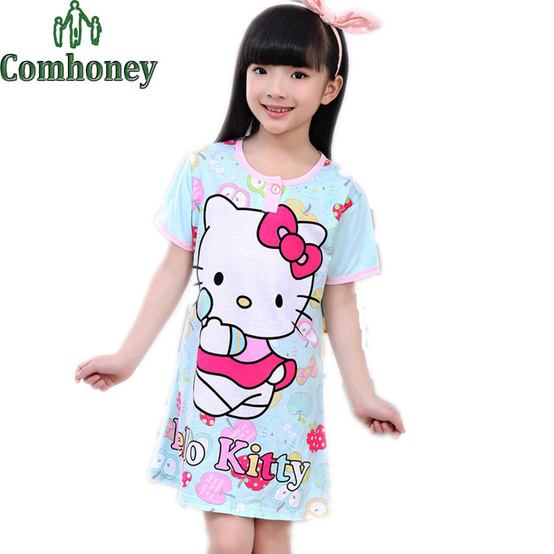 Girls Nightgown Hello Kitty Pajamas for Girls Sleepwear Summer Short Sleeve Children Nightgown Girls Nightdress Kids Pijamas(China (Mainland))
