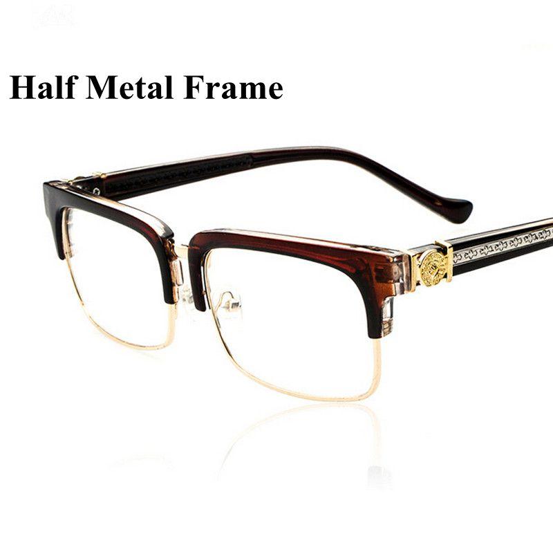 Men-Women-Designer-New-Square-Eyeglasses-Half-Metal ...