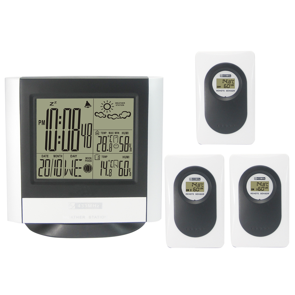 433MHz Wireless Weather Station Kit with Indoor Outdoor Digital Thermometer Hygrometet Weather Forecast Clock 3 Transmitters