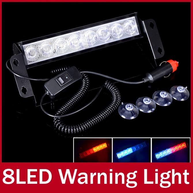 8 LED Strobe Flash Warning Light Car Boat Truck Flashing Signal Emergency Windshield Unit 3-Mode Strobe Light Lamp Blue Red(China (Mainland))