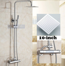 Wall Mount 10 inch Thermostatic Bathroom Shower Faucet Mixer Taps Dual Handle with Hand Held Shower Chrome Finish(China (Mainland))