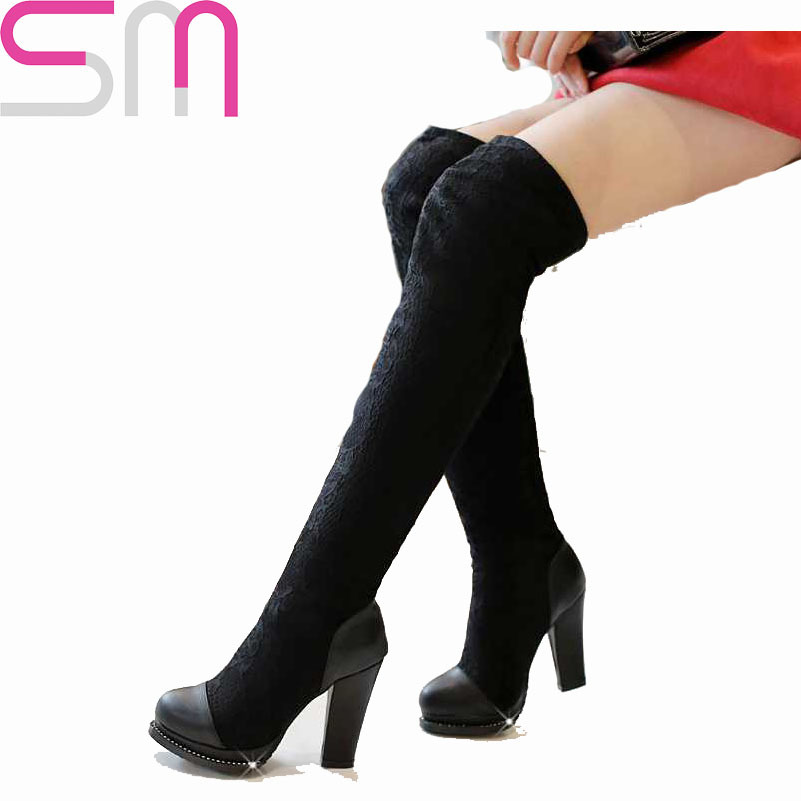 Euro Size 33-40 Fashion Elegant Style Shoes Women Over The Knee High Boots Solid Round Toe Platform Women Shoes 2015