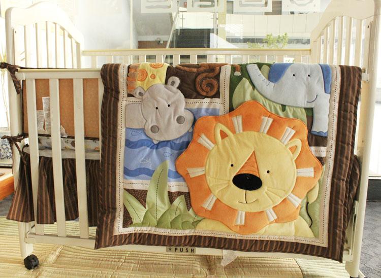 NAUGHTYBOSS Boy Baby Bedding Set 3D Embroidery Africa Lion Pattern Quilt Bumper Bedskirt Mattress Cover 7 Pieces Set Yellow(China (Mainland))