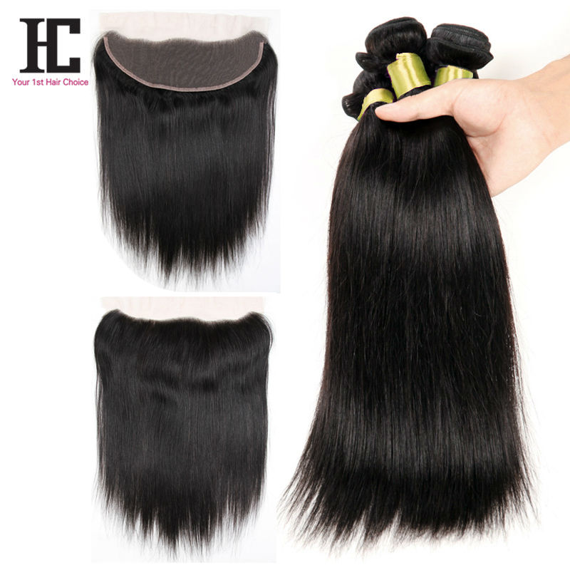 Lace Frontals With Baby Hair And 3 Bundles 7A Brazilian Straight Hair With Closure Full Frontal Lace Closure 13x4 With Bundles<br><br>Aliexpress