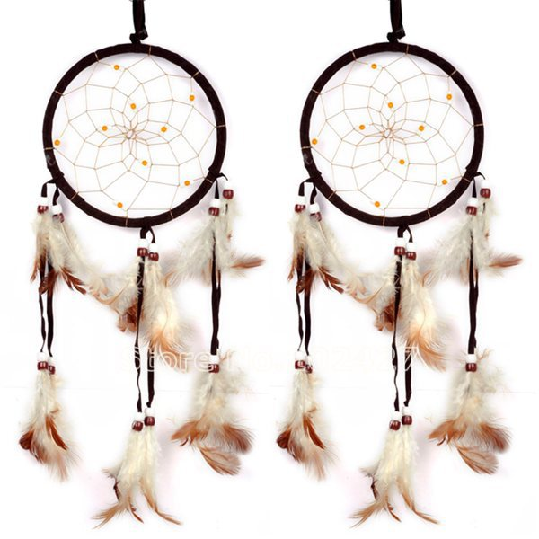 2015 New Hot Brown Dreamcatcher Wind Chimes Indian Style Feather Pendant Dream Catcher Gift(China (Mainland))