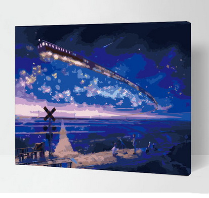 Framed painting by numbers for wall decor canvas painting picture oil painting for living room home decor train under the strars(China (Mainland))